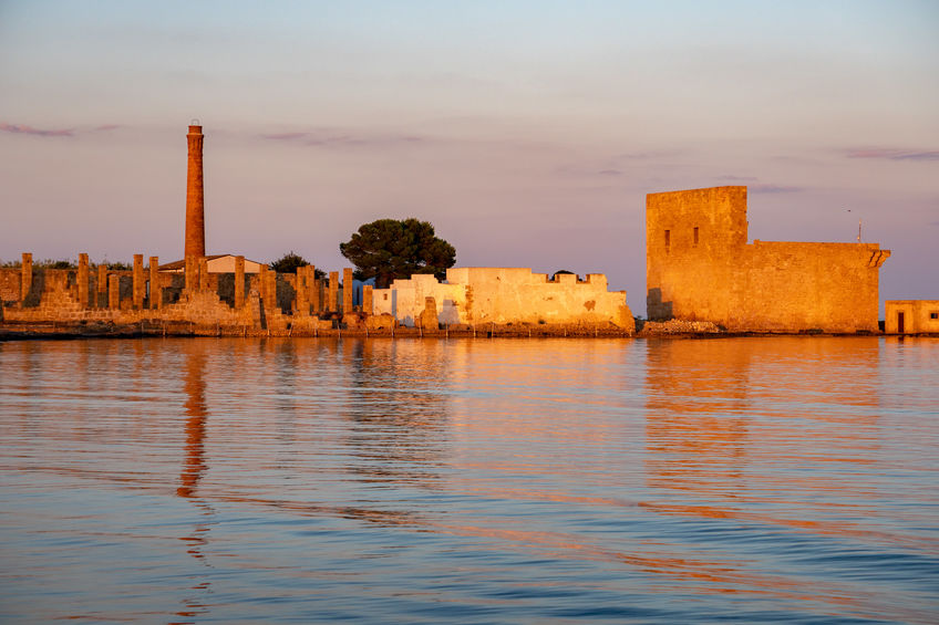 Vendicari Saline ancient tuna factory at sunset view